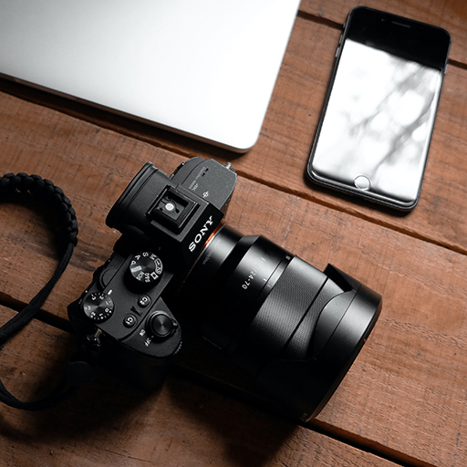 DSLR camera and cell phone