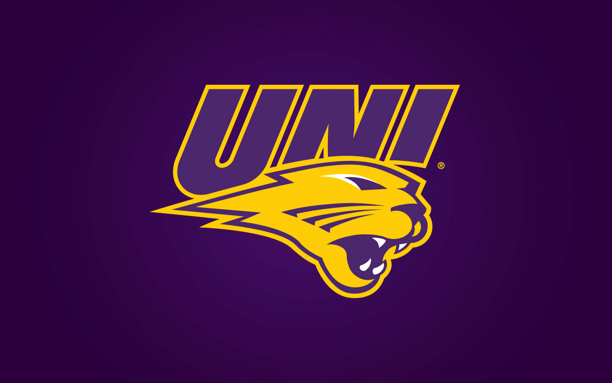 Panther logo on purple background