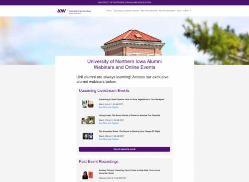 UNI webinar homepage