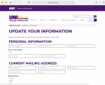Update your information webpage