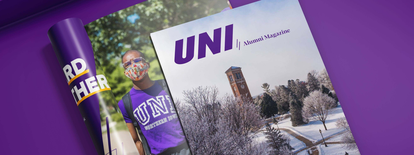 UNI Magazine cover and interior feature of UNI student wearing mask
