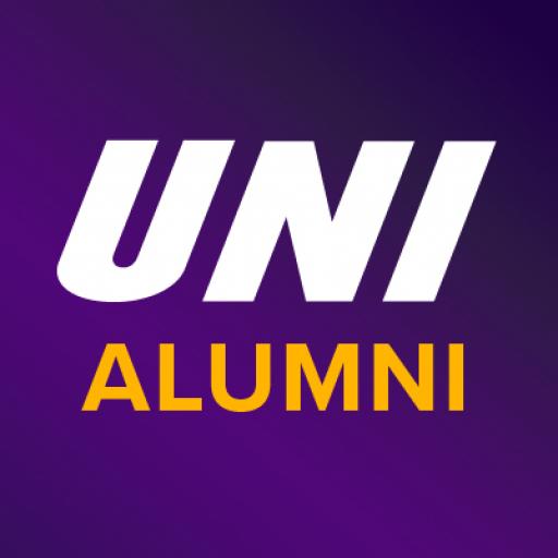 UNI Alumni text on purple background