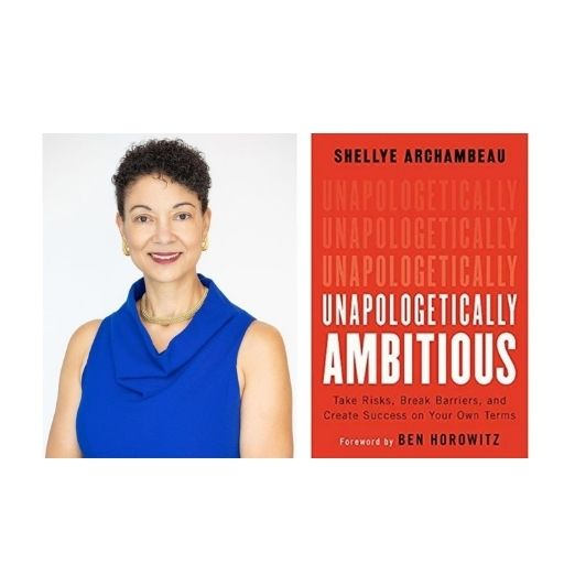 Author Shellye Archambeau with her book Unapologetically Ambitious: Take Risks, Break Barriers, and Create Success on Your Own T