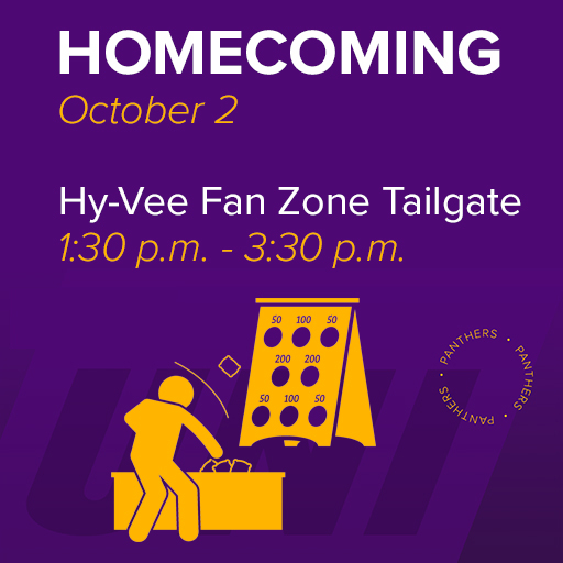 Homecoming, October 2, Hy-Vee Fan Zone Tailgate, 1:30 p.m. - 3:30 p.m.